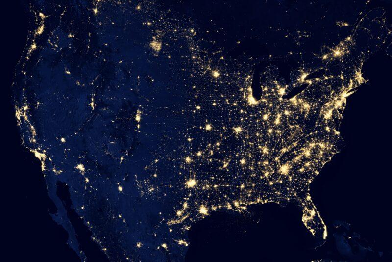 United States night satellite view