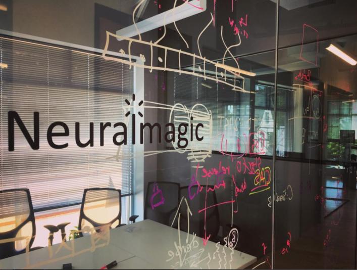 Glass idea board in Neuralmagic office