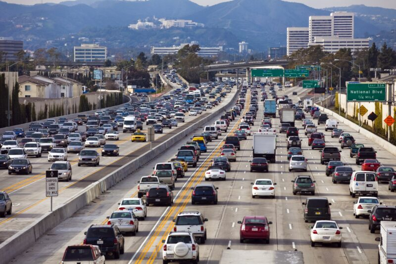 Traffic on all lanes on California highway